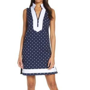 ELIZA J Cotton Polka Dot Shift Dress Sz 2 NWT Blue